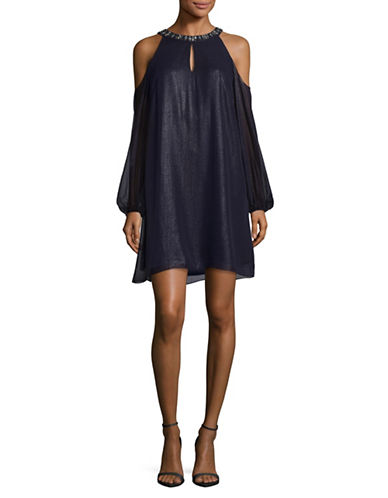 Eliza J Cold Shoulder Embellished Cocktail Dress-NAVY-10