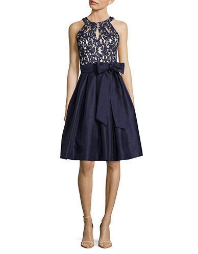 Eliza J Keyhole Halter Fit-and-Flare Dress-NAVY-4