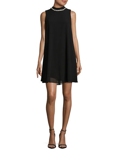 Eliza J Sleeveless Mock Neck Overlay Dress-BLACK-12