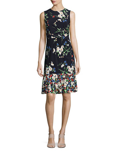Eliza J Flounce Hem Floral Sheath Dress-NAVY MULTI-8