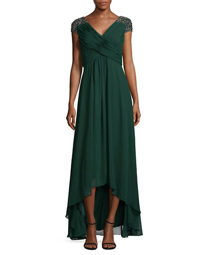 Eliza J Beaded Chiffon Gown-GREEN-14