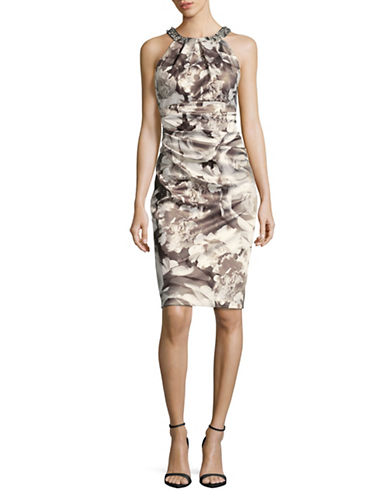 Eliza J Beaded Halter Sheath Dress-BLACK/WHITE FLORAL-2