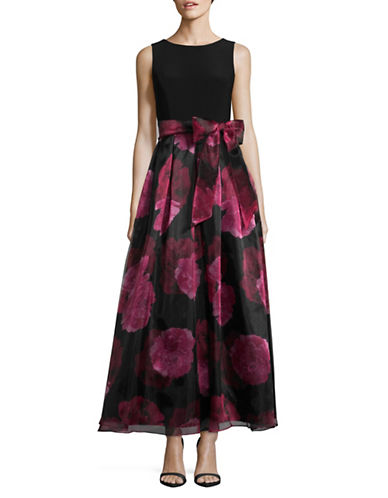 Eliza J Floral Organza Fit-and-Flare Dress-BLACK/FUSHIA-8