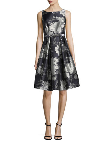 Eliza J Boatneck Fit-and-Flare Dress-BLACK/SILVER-4