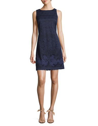 Eliza J Scroll Lace Sheath Dress-NAVY-8