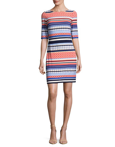 Eliza J Printed Shift Dress-BLUE MULTI-4