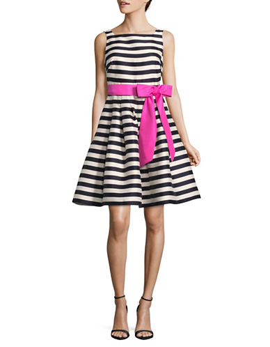 Eliza J Striped A-Line Midi Dress-NAVY MULTI-8