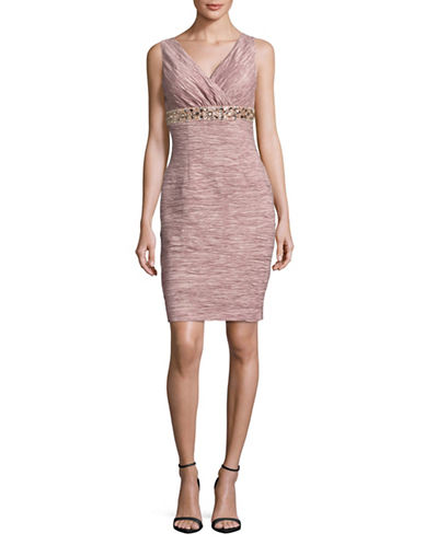 Eliza J Sleeveless Surplice Bead Sheath Dress-ROSE-10