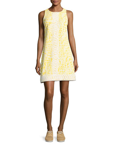 Eliza J Crochet Trim Printed Shift Dress-YELLOW-12