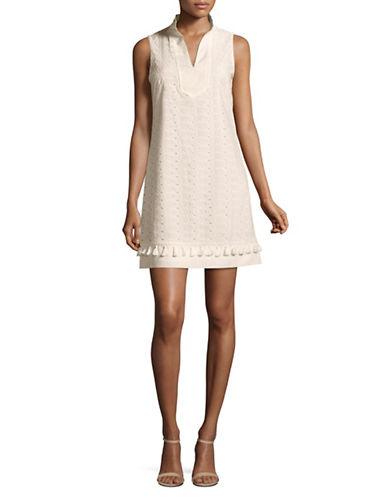 Eliza J Mandarin Collar Shift Dress-WHITE-4