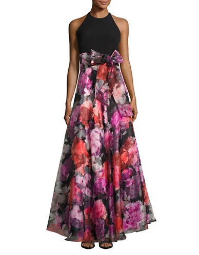 Eliza J High-Waist Halter Gown with Floral Ball Skirt-BLACK MULTI-12