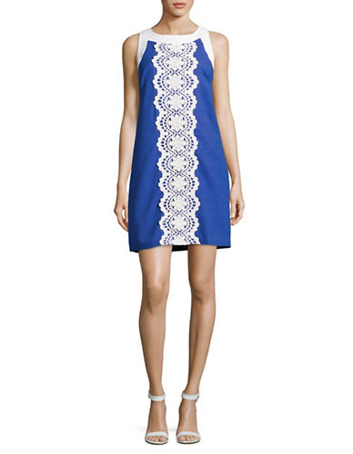 Eliza J Lace Trim Sheath Dress-ROYAL-6