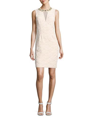 Eliza J Bejewelled Lace Sheath Dress-IVORY-8