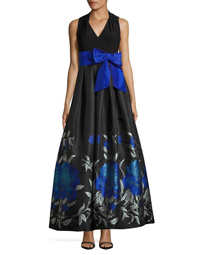 Eliza J Pleated V-Neck Gown with Floral Ball Skirt-BLACK MULTI-8