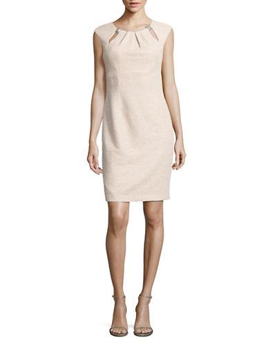 Eliza J Pleat Neck Cut-Out Sheath Dress-BEIGE-6