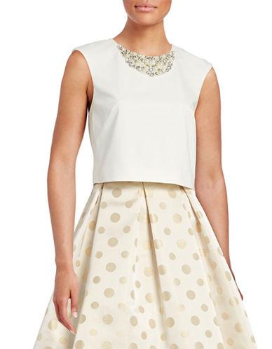 Eliza J Jewellery Neck Crop Top-WHITE-8