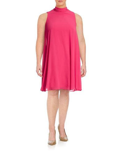 Eliza J Plus Bow Back Trapeze Dress-PINK-14W
