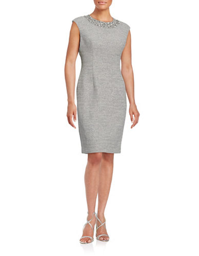 Eliza J Beaded Neck Metallic Sheath Dress-BEIGE-6
