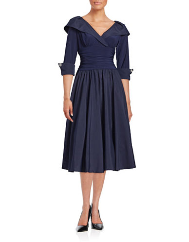 Eliza J Shawl Collar Taffeta Gown-NAVY-4