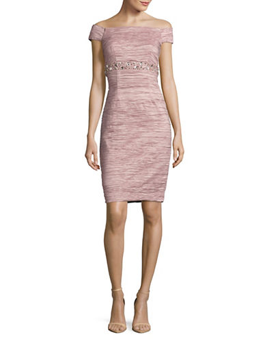 Eliza J Beaded Off-Shoulder Sheath Dress-ROSE-12