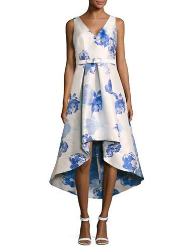 Eliza J Sleeveless V-Neck Hi-Lo Floral Dress-BLUE MULTI-12