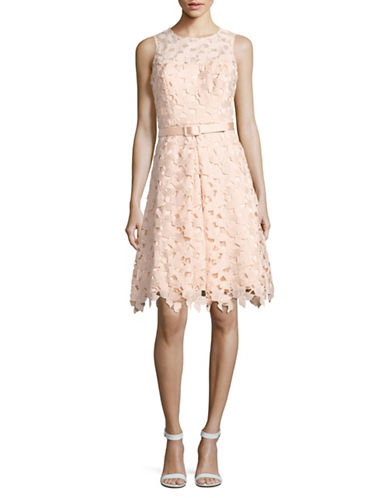 Eliza J Belted Floral Crochet Fit-and-Flare Dress-BLUSH-2