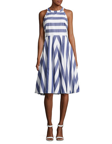 Eliza J Halter Striped Fit and Flare Dress-BLUE/IVORY-10