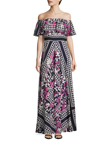 Eliza J Printed Off-Shoulder Maxi Dress-MULTI-6