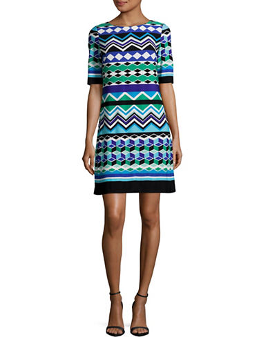 Eliza J Geo Print Boat Neck Sheath Dress-MULTI-12