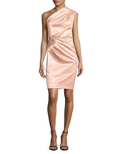 Eliza J One-Shoulder Ruched Satin Dress-PINK-12
