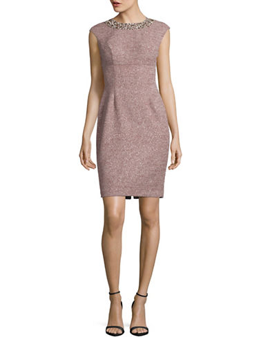 Eliza J Glitter Sheath Dress with Necklace Detail-PINK-12