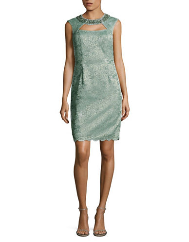 Eliza J Cap Sleeve Cut-Out Beaded Sheath Dress-GREEN-12