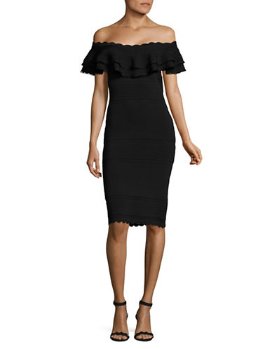 Eliza J Ruffled Off-Shoulder Sheath Dress-BLACK-Medium