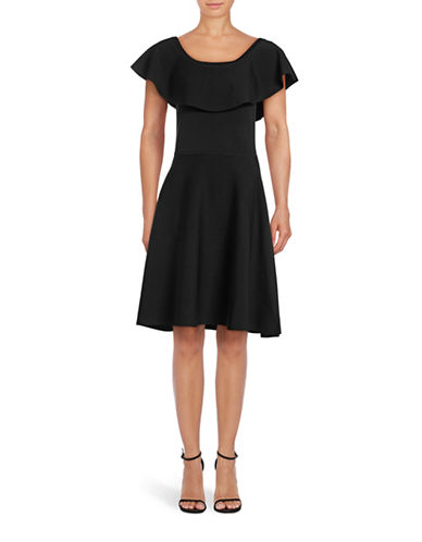 Eliza J Off-Shoulder Ruffle Fit-and-Flare Dress-BLACK-Small