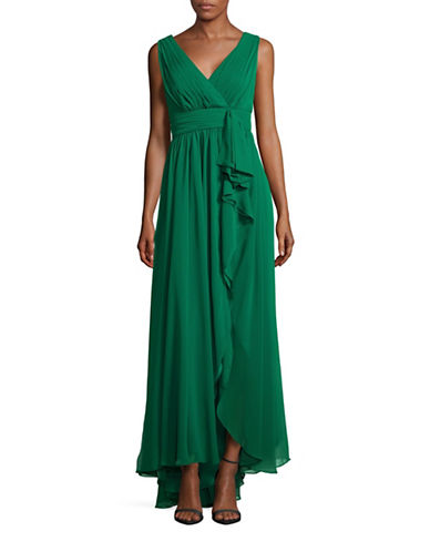 Eliza J Pleated Chiffon Gown-GREEN-8