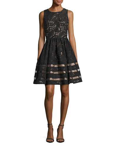 Eliza J Sleeveless Lace and Organza Dress-BLACK-4