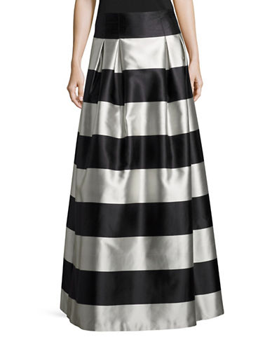 Eliza J Striped A-Line Skirt-BLACK-14