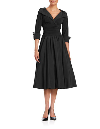 Eliza J Shawl Collar Taffeta Gown-BLACK-2