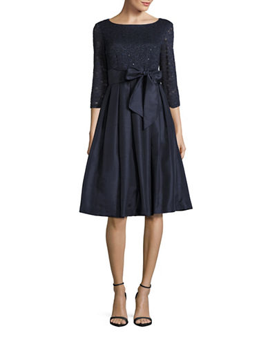 Eliza J Sequined Lace Bodice Self-Tie Dress-NAVY-2