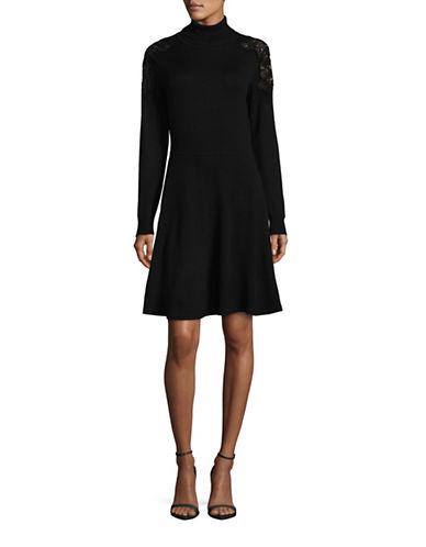 Eliza J Lace-Trimmed Sweater Dress-BLACK-X-Large 88531805_BLACK_X-Large