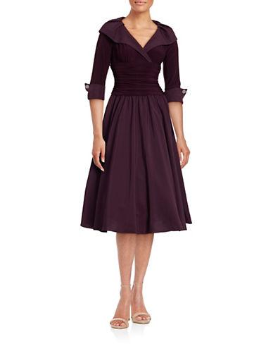 Eliza J Off-Shoulder Cuffed Dress-PURPLE-4