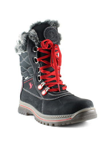 Santana Canada Après Ski Maldine Leather Boots with Faux Fur-BLACK-11