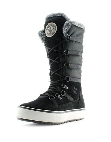 Santana Canada Après Ski Mackenzie Suede Boots with Faux Fur-BLACK-7