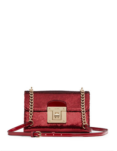 Aldo Sequin Flap Crossbody Bag-RED-One Size