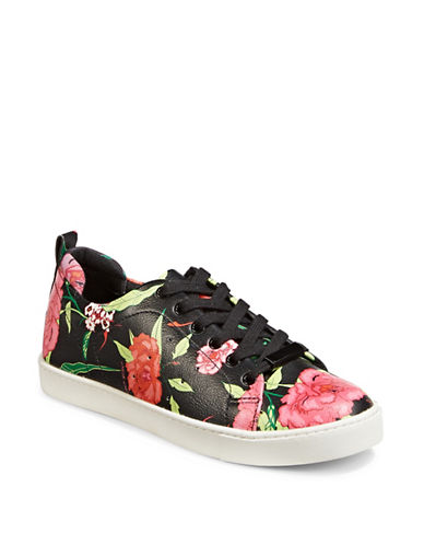 Aldo Womens Printed Lace-Up Sneakers-BLACK FLORAL-9