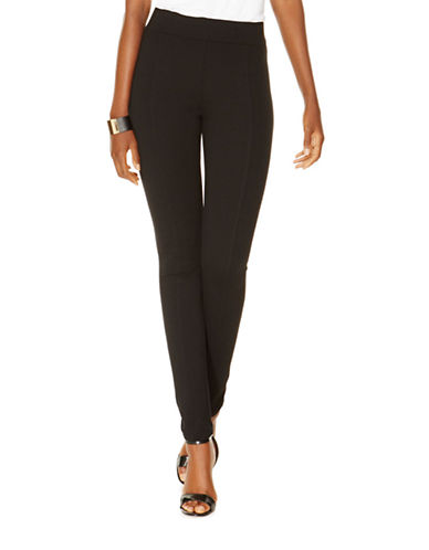 I.N.C International Concepts Seamed Pull-On Ponte Skinny Pants-BLACK-2