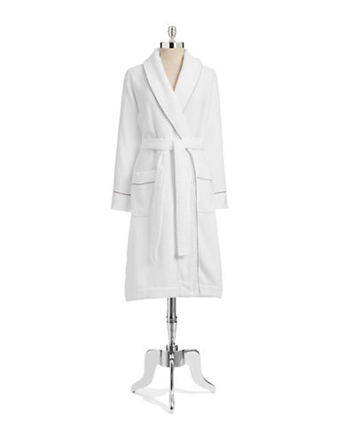 Hotel Collection Terry Knit Finest Bathrobe-WHITE-Medium/Large