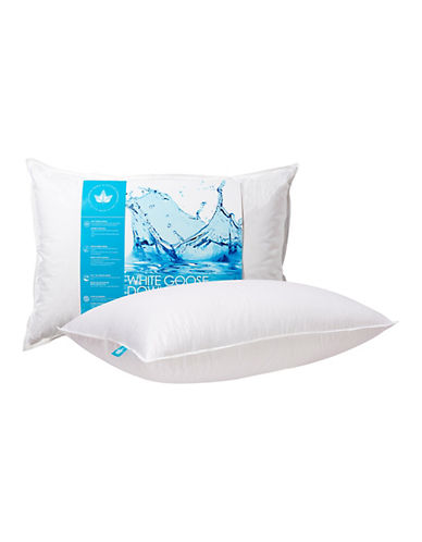 Canadian Down And Feather Medium Support White Goose Down Pillow-WHITE-Queen