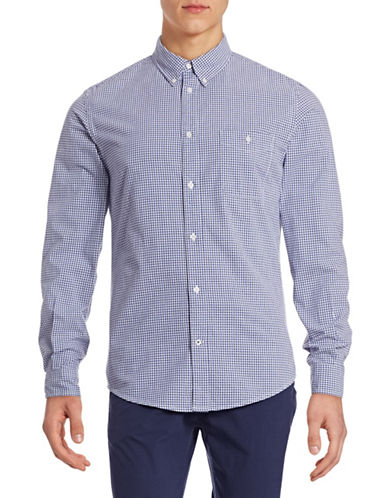 Nn07 Micro Gingham Sport Shirt-BLUE CHECK-Large