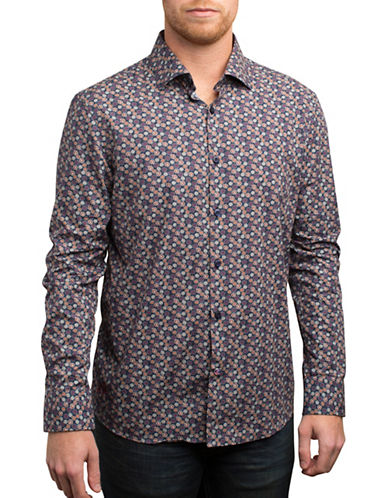 English Laundry Cool Tone Floral Print Sport Shirt-BLUE-X-Large